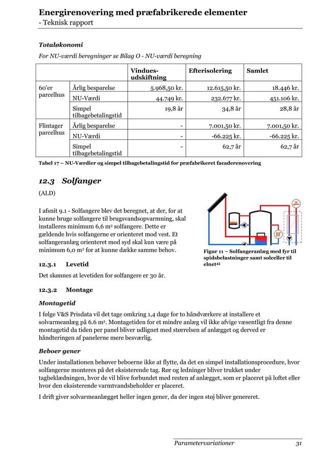 Energirenovering med præfabrikerede elementer - Teknisk rapport Totaløkonomi For NU-værdi beregninger se Bilag O - NU-værd...