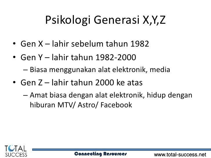 Psikologi Generasi X,Y,Z• Gen X – lahir sebelum tahun 1982• Gen Y – lahir tahun 1982-2000  – Biasa menggunakan alat elektr...