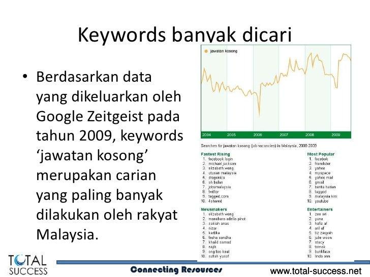 Keywords banyak dicari• Berdasarkan data  yang dikeluarkan oleh  Google Zeitgeist pada  tahun 2009, keywords  'jawatan kos...