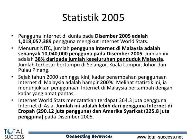 Statistik 2005• Pengguna Internet di dunia pada Disember 2005 adalah  1,018,057,389 pengguna mengikut Internet World Stats...