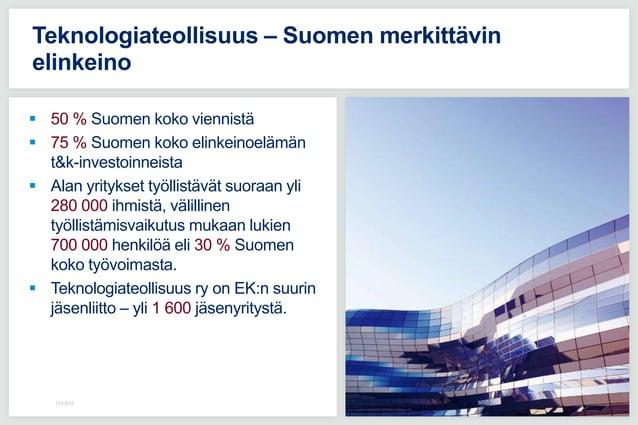 50 % Suomen koko viennistä  75 % Suomen koko elinkeinoelämän t&k-investoinneista  Alan yritykset työllistävät suoraan ...