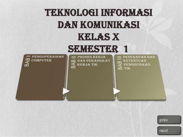 Teknologi Informasi dan Komunikasi Kelas X Semester 1  prev next