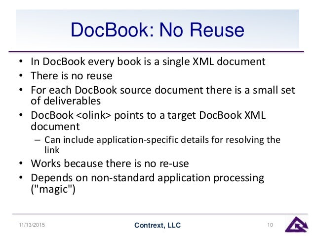 DocBook: No Reuse • In DocBook every book is a single XML document • There is no reuse • For each DocBook source document ...