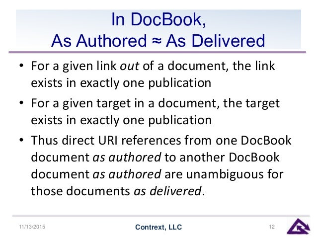 In DocBook, As Authored ≈ As Delivered • For a given link out of a document, the link exists in exactly one publication • ...