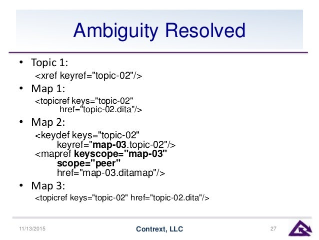 "Ambiguity Resolved • Topic 1: <xref keyref=""topic-02""/> • Map 1: <topicref keys=""topic-02"" href=""topic-02.dita""/> • Map 2:..."