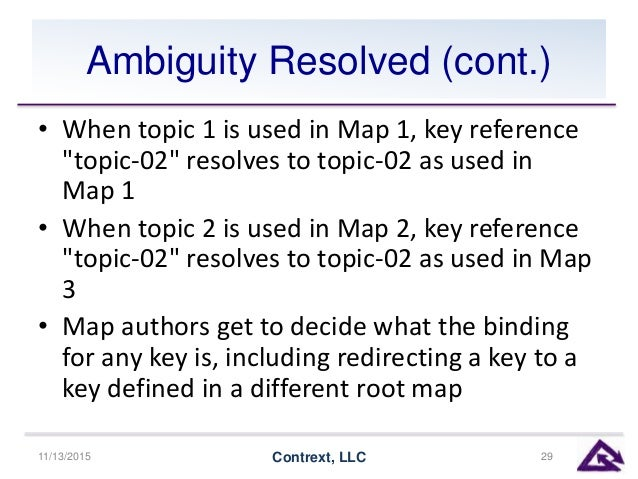 """Ambiguity Resolved (cont.) • When topic 1 is used in Map 1, key reference """"topic-02"""" resolves to topic-02 as used in Map 1..."""