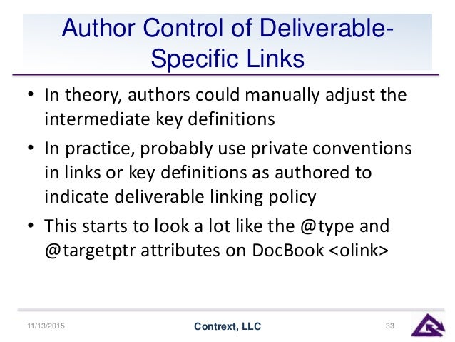Author Control of Deliverable- Specific Links • In theory, authors could manually adjust the intermediate key definitions ...
