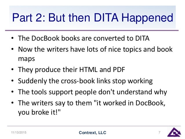 Part 2: But then DITA Happened • The DocBook books are converted to DITA • Now the writers have lots of nice topics and bo...