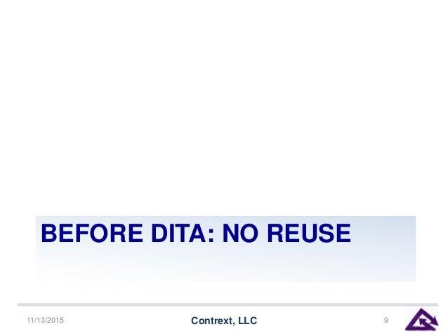 BEFORE DITA: NO REUSE 11/13/2015 Contrext, LLC 9