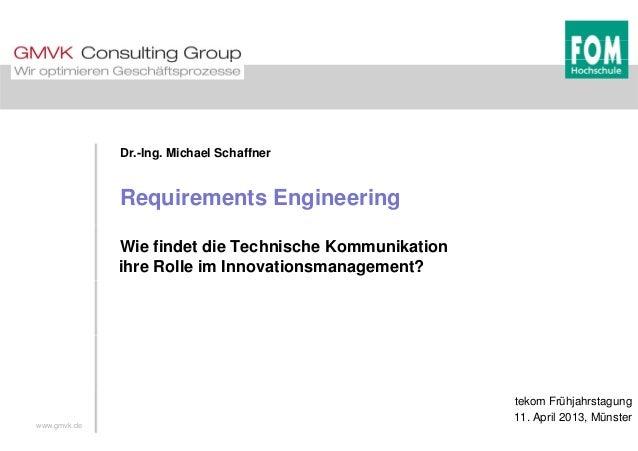 Dr.-Ing. Michael Schaffner Requirements Engineering Wie findet die Technische Kommunikation ihre Rolle im Innovationsmanag...
