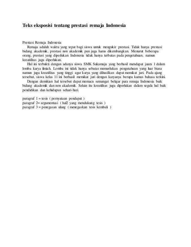 Teks Eksposisi Tentang Prestasi Remaja Indonesia
