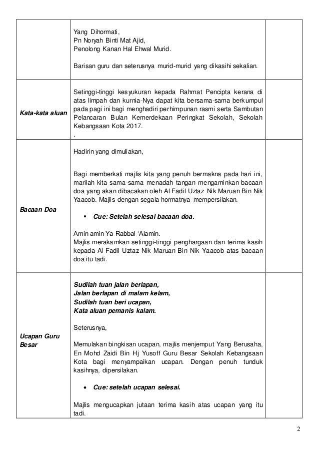 Teks Pengacara Majlis Bulan Kemerdekaan Soto Mbah Slamet