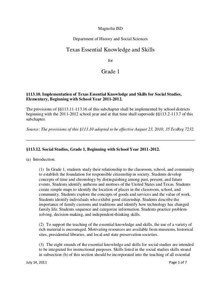 Magnolia ISD<br />Department of History and Social Sciences<br />Texas Essential Knowledge and Skills<br />for<br />Grade ...