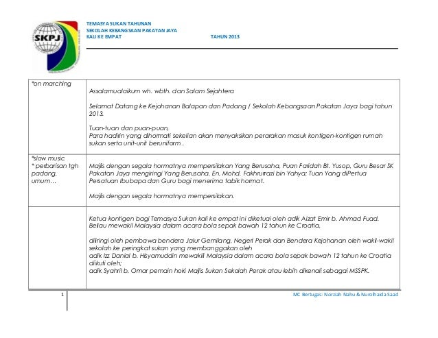 TEMASYA SUKAN TAHUNAN SEKOLAH KEBANGSAAN PAKATAN JAYA KALI KE EMPAT TAHUN 2013 *on marching Assalamualaikum wh. wbth. dan ...