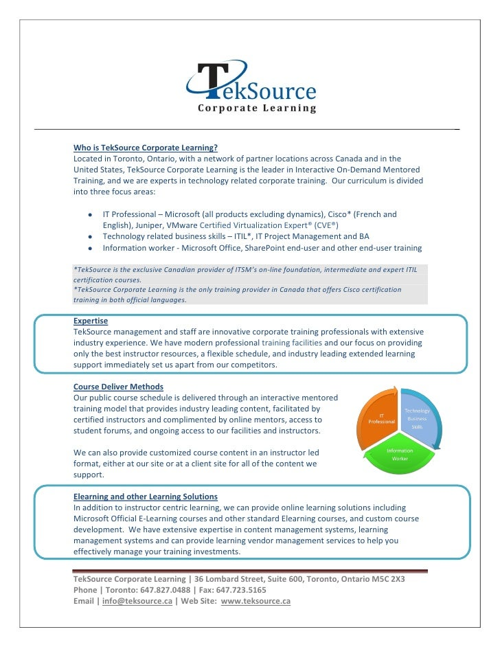Who is TekSource Corporate Learning? Located in Toronto, Ontario, with a network of partner locations across Canada and in...