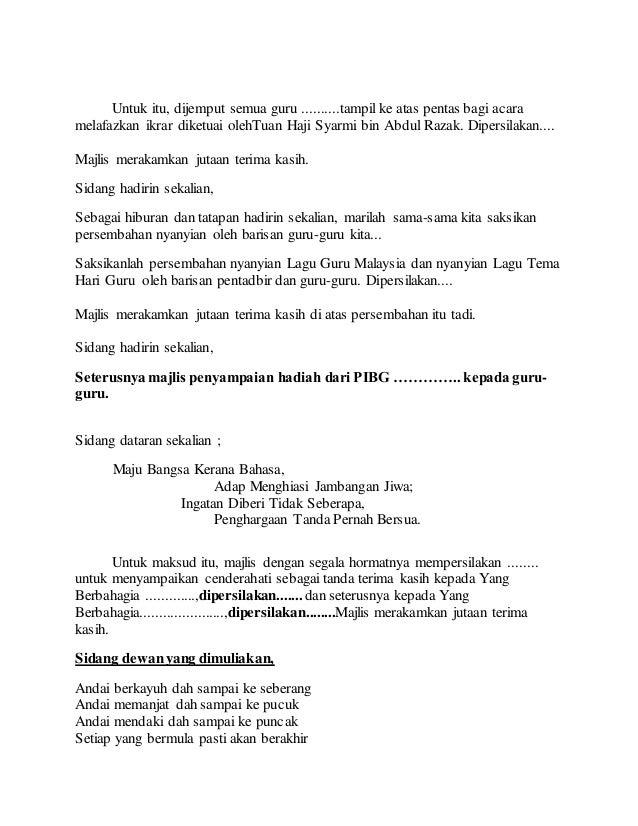 Teks Pengacara Majlis Hari Guru 2018