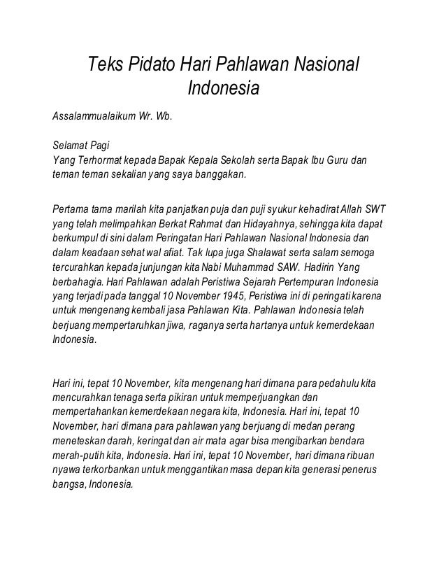 Teks Pidato Hari Pahlawan Nasional Indonesia