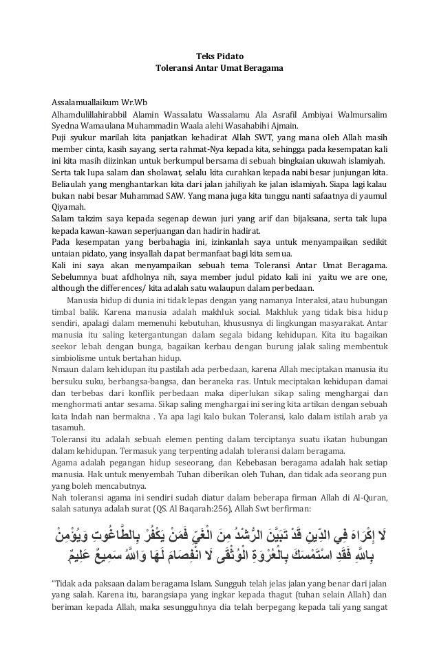 Teks Pidato Toleransi