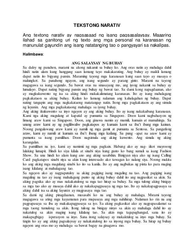 halimbawa ng komposisyong narativ Contextual translation of halimbawa ng tekstong deskriptiv into english human translations with examples: tekstong akademik, tekstong medicine, tekstong deskriptiv.