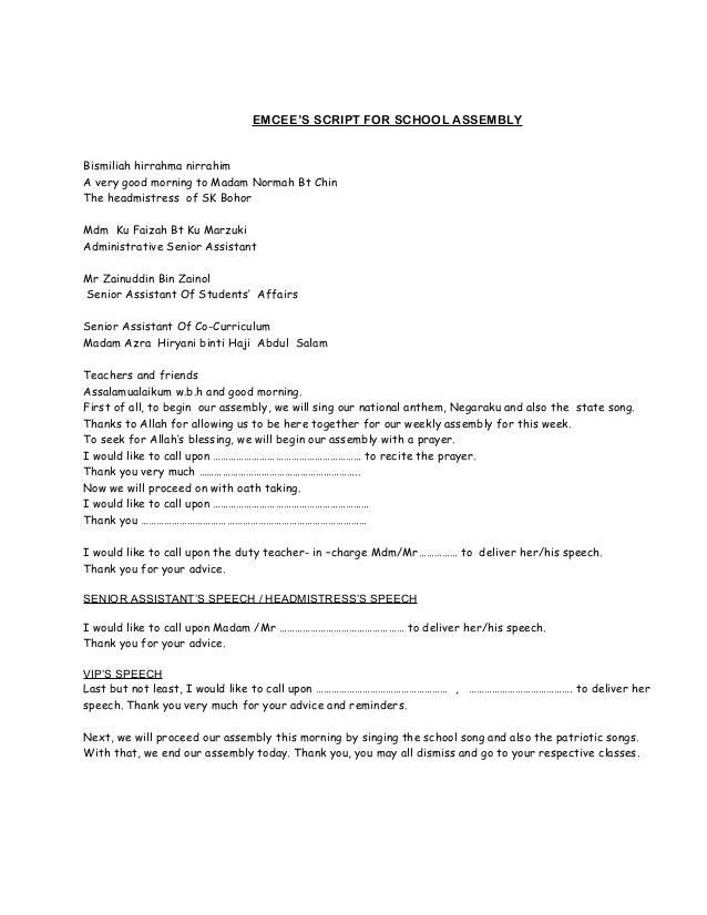 Teks ucapan semasa perhimpunan mingguan