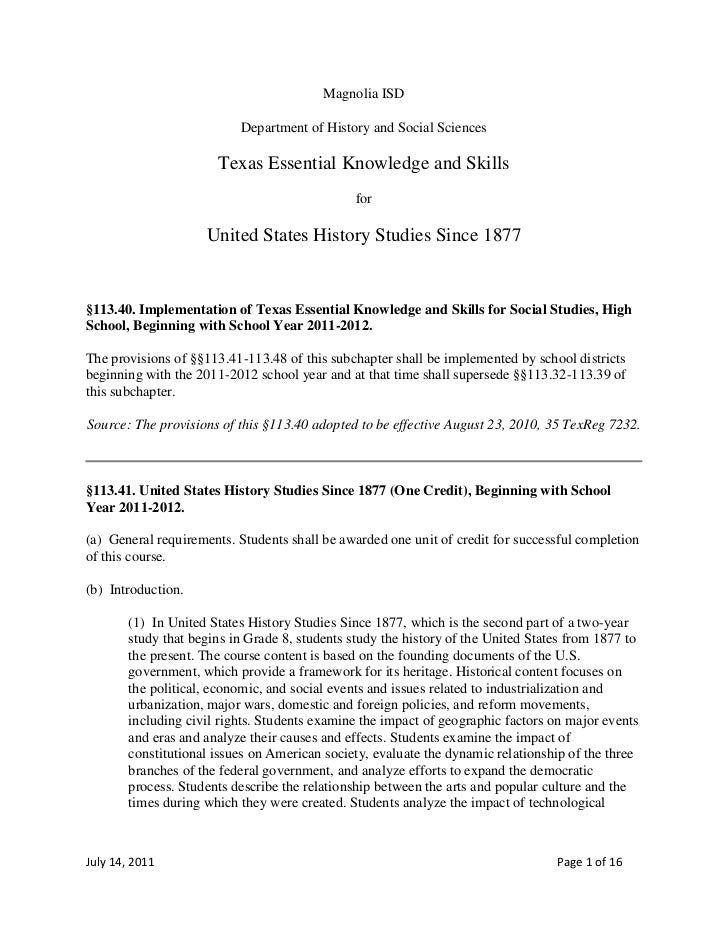 teks us history since  teks us history since 1877 2011 2012 magnolia isd<br >department of history and social sciences<br