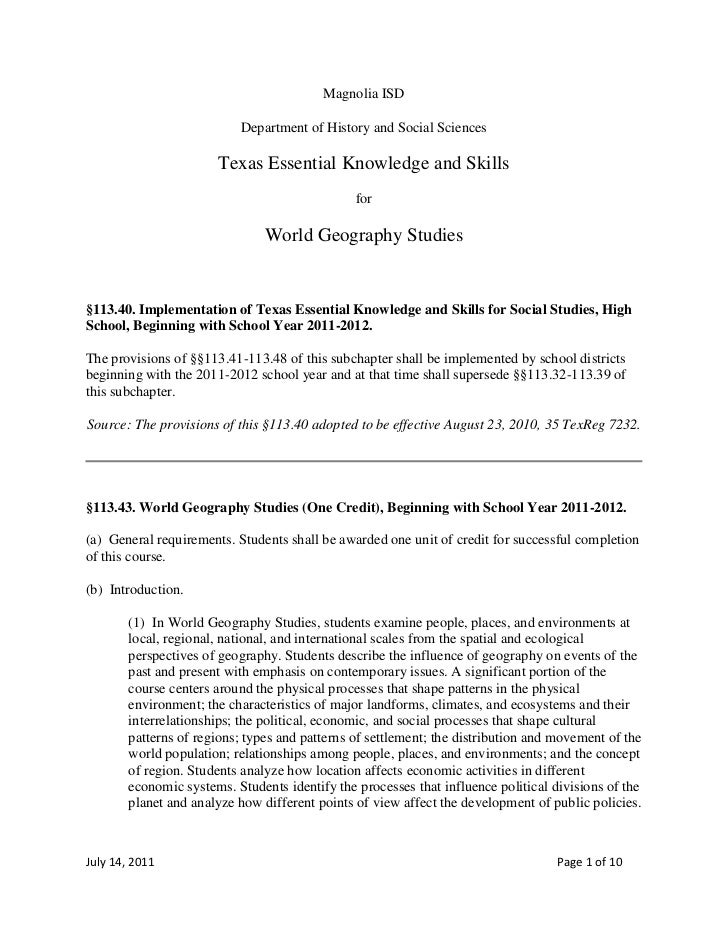 Magnolia ISD<br />Department of History and Social Sciences<br />Texas Essential Knowledge and Skills<br />for<br />World ...