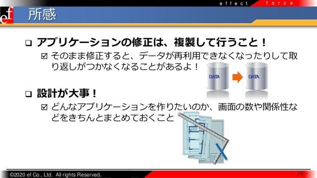 ©2020 ef Co., Ltd. All rights Reserved. e f f e c t f o r c e 所感 - 18 -  アプリケーションの修正は、複製して行うこと!  そのまま修正すると、データが再利用できなくなっ...