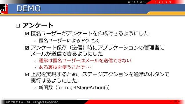 ©2020 ef Co., Ltd. All rights Reserved. e f f e c t f o r c e DEMO  アンケート  匿名ユーザーがアンケートを作成できるようにした  匿名ユーザーによるアクセス  アンケ...