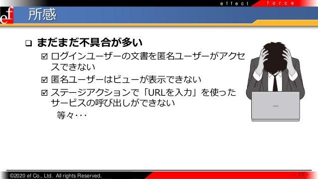 ©2020 ef Co., Ltd. All rights Reserved. e f f e c t f o r c e 所感 - 13 -  まだまだ不具合が多い  ログインユーザーの文書を匿名ユーザーがアクセ スできない  匿名ユー...