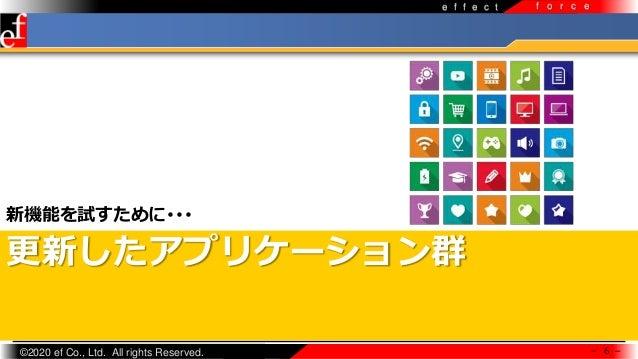 ©2020 ef Co., Ltd. All rights Reserved. e f f e c t f o r c e 更新したアプリケーション群 新機能を試すために・・・ - 6 -