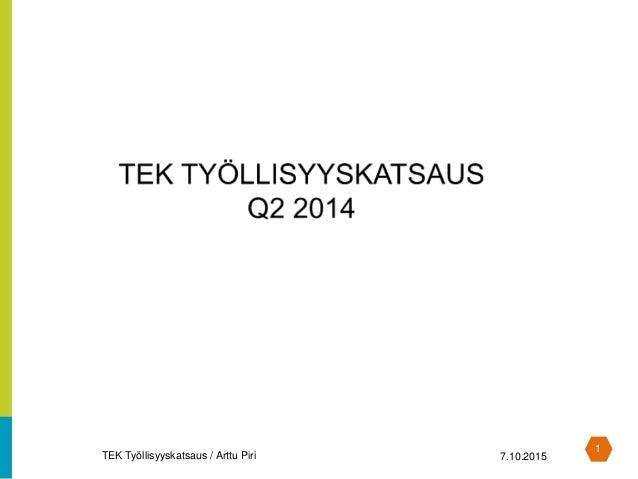 1 TEK Työllisyyskatsaus / Arttu Piri 7.10.2015