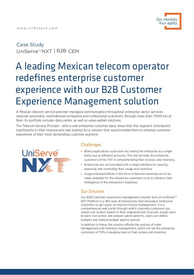 A Mexican telecom service provider managed communication throughout enterprise sector services; national corporates, multi...