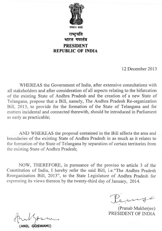 THE ANDHRA PRADESH REORGANISATION BILL, 2013  A BILL to provide for the reorganisation of the existing State of Andhra ...