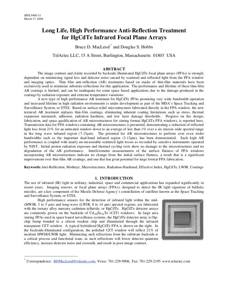 SPIE 6940-31March 17, 2008             Long Life, High Performance Anti-Reflection Treatment                    for HgCdTe...