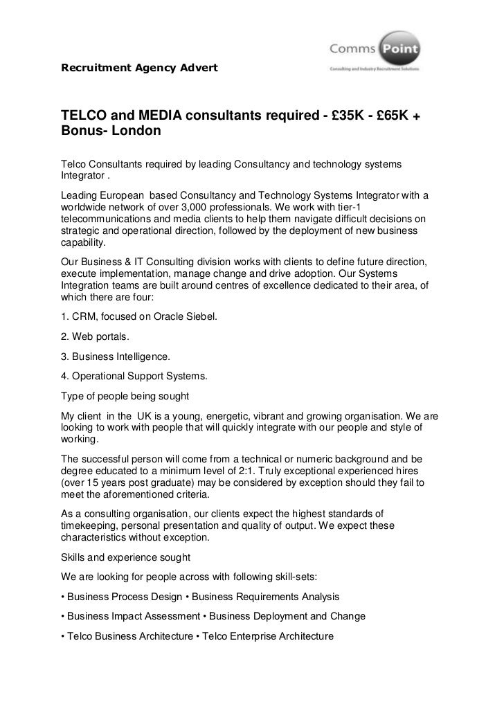 Recruitment Agency AdvertTELCO and MEDIA consultants required - £35K - £65K +Bonus- LondonTelco Consultants required by le...