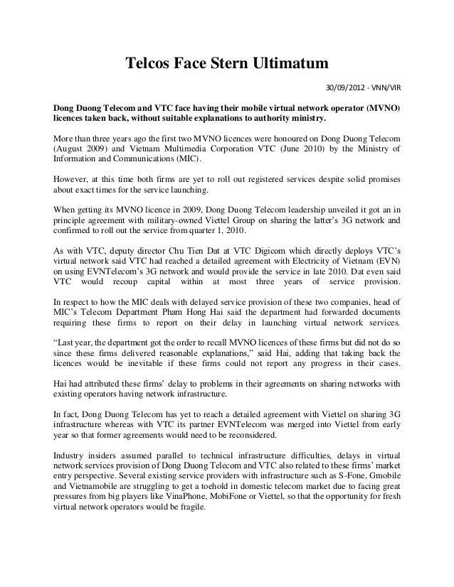Telcos Face Stern Ultimatum                                                                            30/09/2012 - VNN/VI...