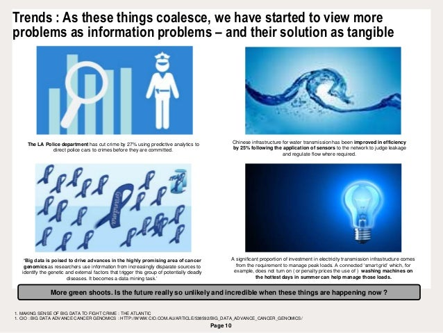 Page 10 Trends : As these things coalesce, we have started to view more problems as information problems – and their solut...