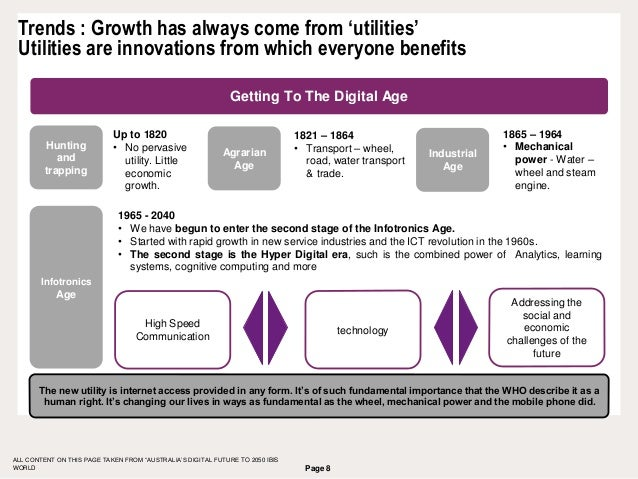 Page 8 Trends : Growth has always come from 'utilities' Utilities are innovations from which everyone benefits ALL CONTENT...