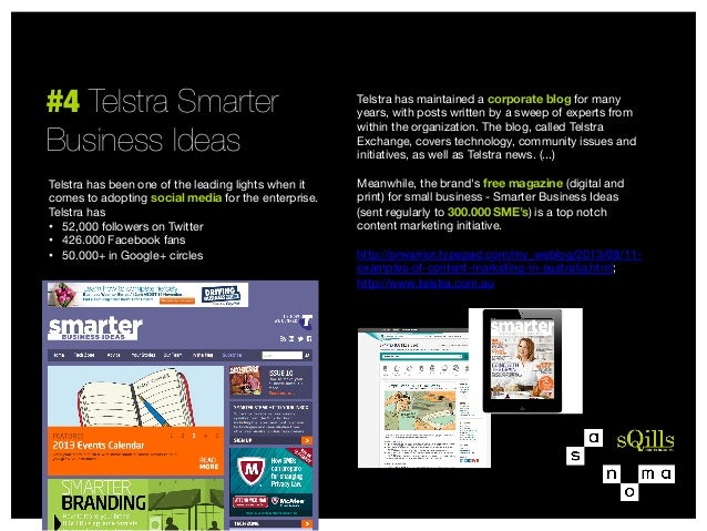 """#4 Telstra Smarter """" Business Ideas Telstra has been one of the leading lights when it comes to adopting social media for ..."""