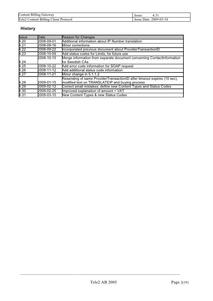 Tele2 Content Billing Client Protocol V4.31 Slide 2