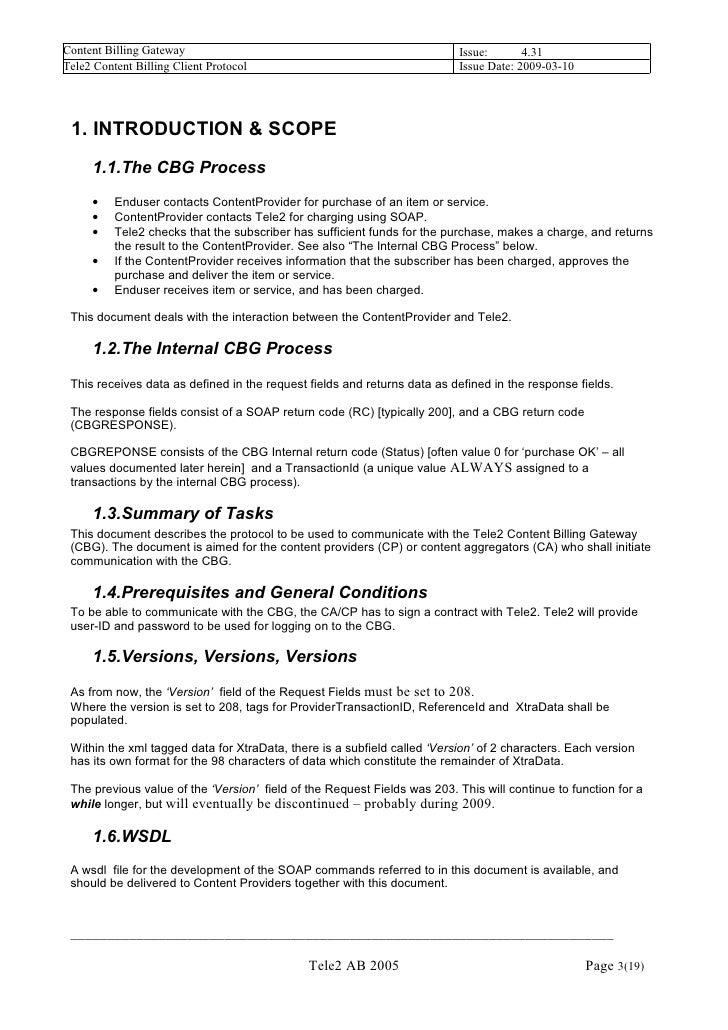 Tele2 Content Billing Client Protocol V4.31 Slide 3