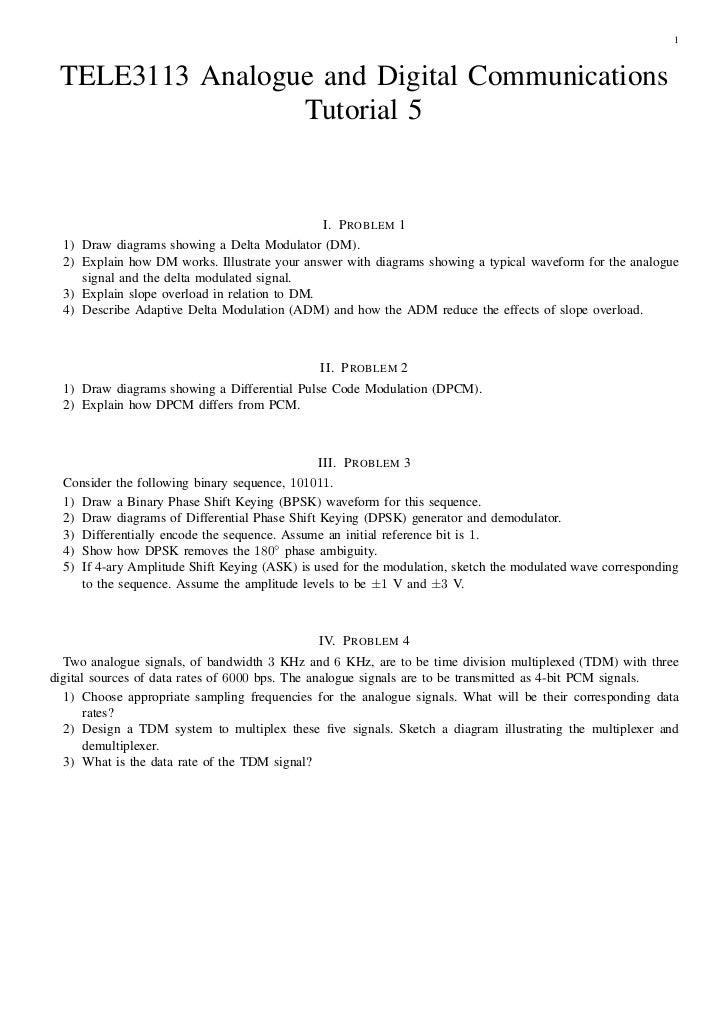 1 TELE3113 Analogue and Digital Communications                 Tutorial 5                                               I....