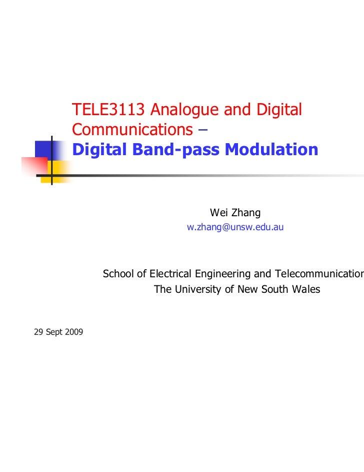 TELE3113 Analogue and Digital         Communications –         Digital Band-pass Modulation                               ...