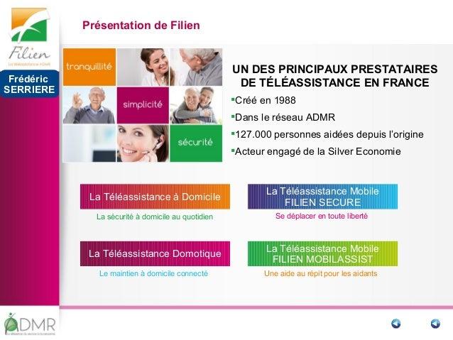 UN DES PRINCIPAUX PRESTATAIRES DE TÉLÉASSISTANCE EN FRANCE Créé en 1988 Dans le réseau ADMR 127.000 personnes aidées de...