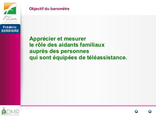 9 Objectif du baromètre Apprécier et mesurer le rôle des aidants familiaux auprès des personnes qui sont équipées de téléa...