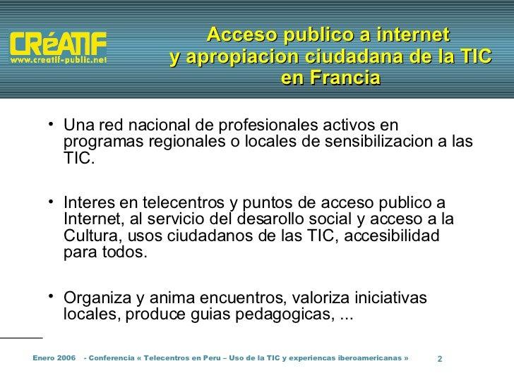 Telecentros y cabinas de Internet en Francia Slide 2