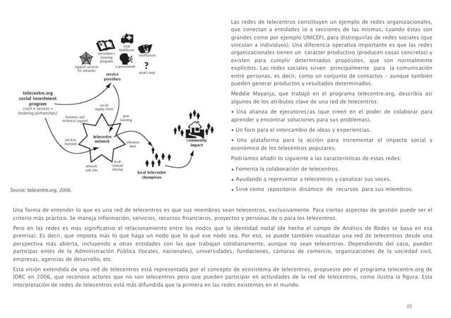 Las redes de telecentros constituyen un ejemplo de redes organizacionales, que conectan a entidades (o a secciones de las ...