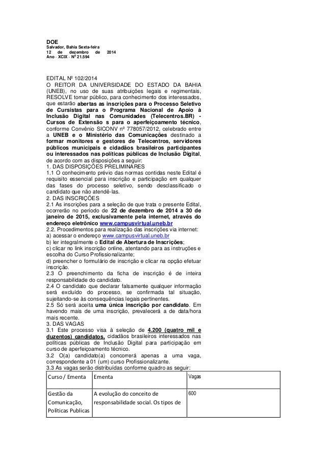 DOE  Salvador, Bahia Sexta-feira  12 de dezembro de 2014 Ano · XCIX · No 21.594  EDITAL Nº 102/2014 O REITOR DA UNIVERSIDA...