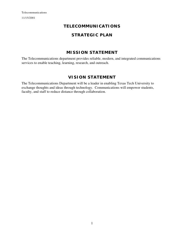 Telecommunications11/15/2001                           TELECOMMUNICATIONS                                STRATEGIC PLAN   ...