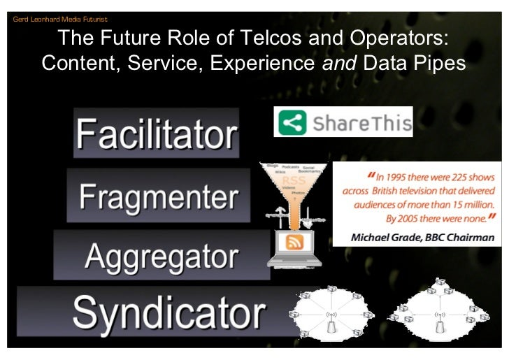 Gerd Leonhard Media Futurist            The Future Role of Telcos and Operators:         Content, Service, Experience and ...